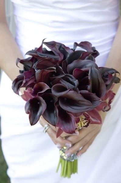Eggplant & orchid bouquet