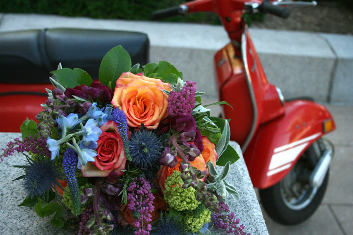Libby's bouquet with her favorite scooter