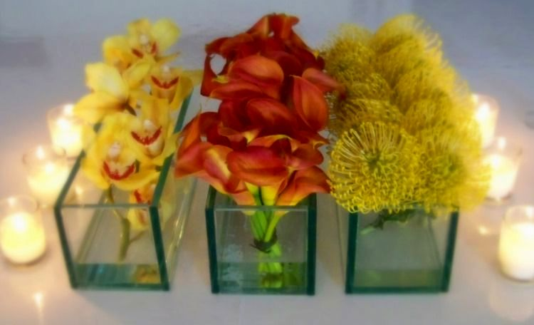 TOWNSEND CENTERPICES: CYMBIDIUMS, MINI CALLAS AND PINCUSHION PROTEA